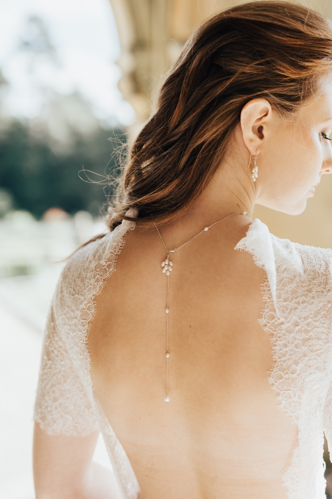 Image of pearl and silver bridal back necklace  - click to view