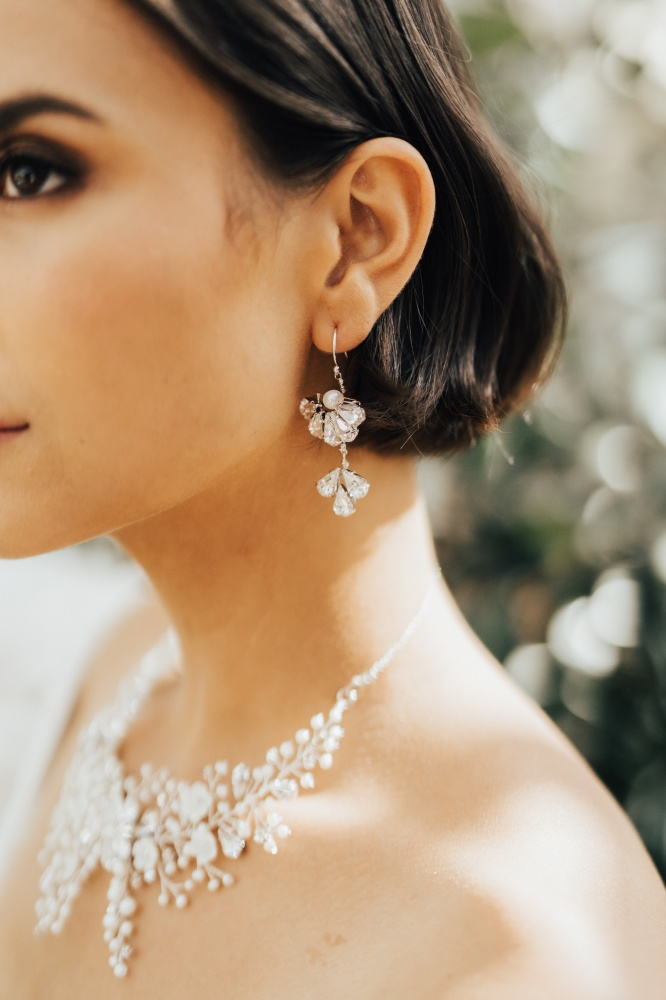 Image of Swarovski crystal wedding drop earrings - click to view