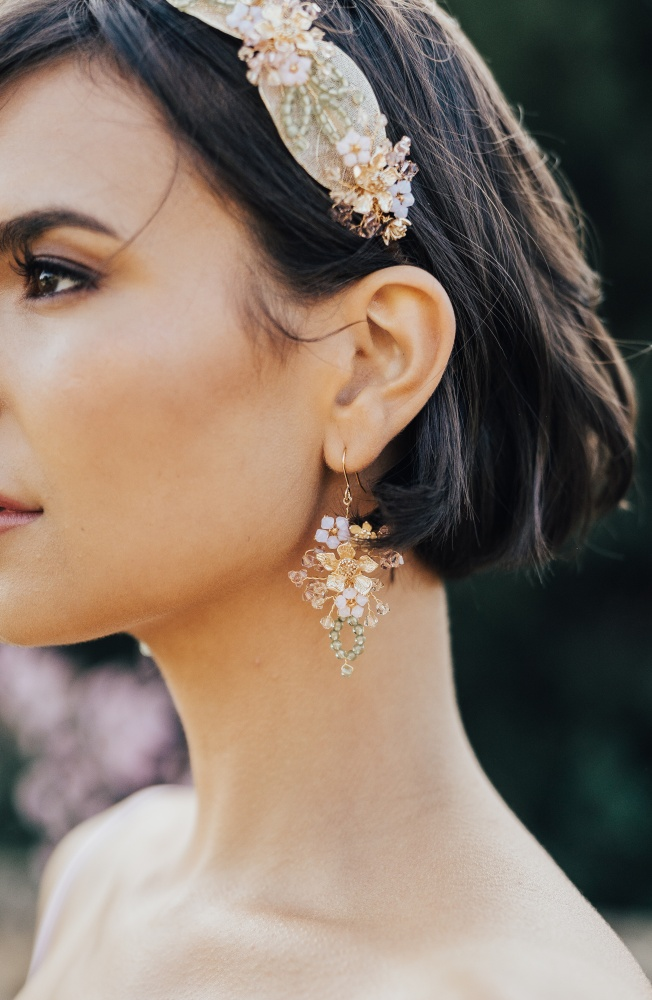 Image of Floral gold and pink organic crystal earrings  - click to view