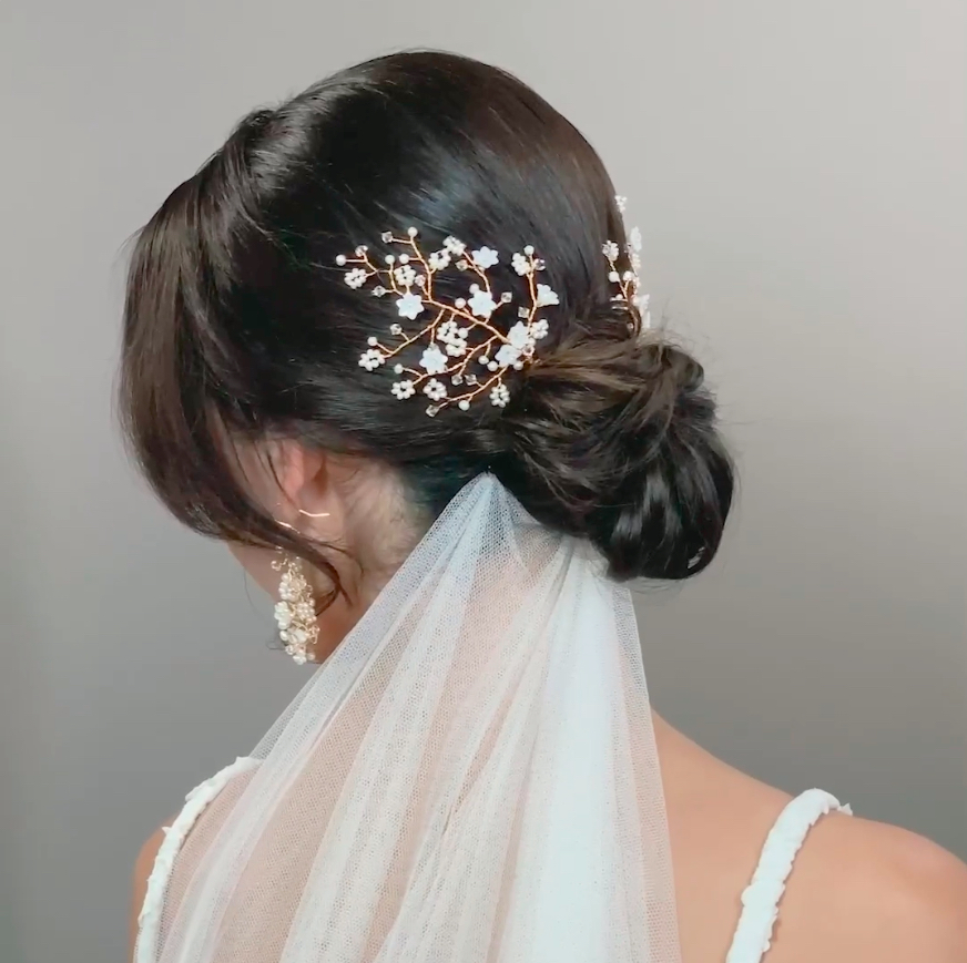 Image of pearl and crystal flower hairpins - click to view