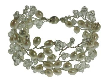 Handmade Pearl and Swarovski Crystal Wedding Bracelet