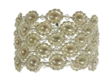 Designer Pearl and Swarovski Crystal Wedding Bracelet