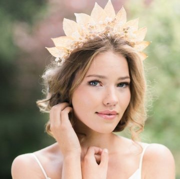 golden leaf and pearl flowers crown