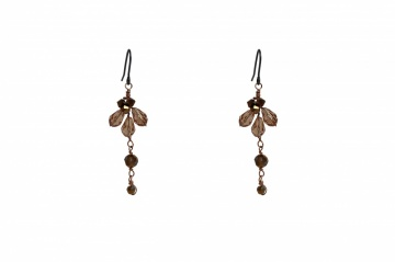Cappuccino tonal brown Swarovski crystal drop earrings