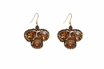 Gold Swarovski crystal large chandelier earrings