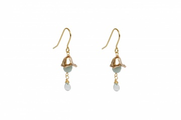green gemstone and gold droplet earrings