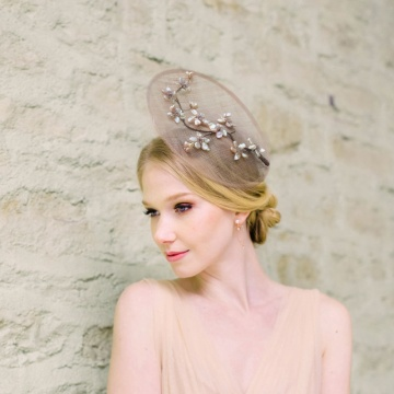 Cherry blossom pearl and crystal fascinator hat