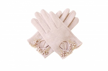 vintage pink embellished wool gloves