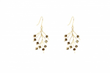 gold tone crystal and gold plated tree drop earrings