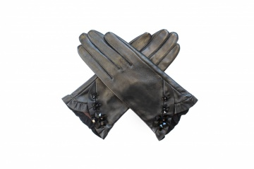 Black swarovski crystal embellished leather gloves