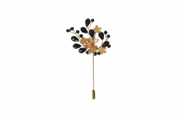 black and gold crystal embellished hatpin brooch pin