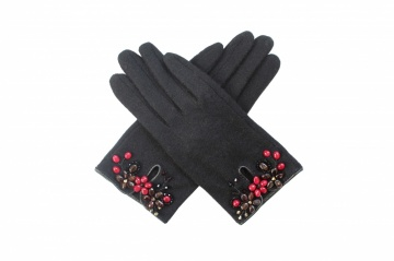 black berry crystal bead embellished winter wool gloves