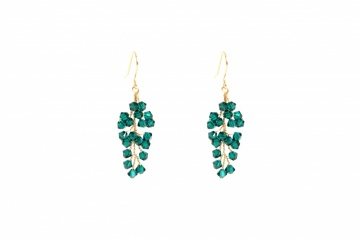 emerald green swarovski crystal drop party earrings
