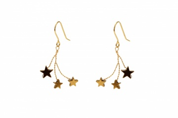 gold plated star embellished wire drop earrings