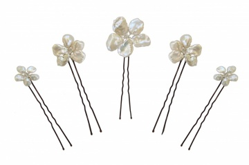 raw pearl flower wedding hair pins