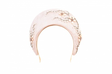 Floral pearl embellished millinery headband halo hat