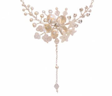 Pearl and crystal blossom with tendrils drop necklace
