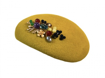 Mustard Yellow Multicoloured Swarovski Pillbox Hat