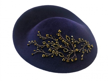 purple bronze crystal embellished millinery