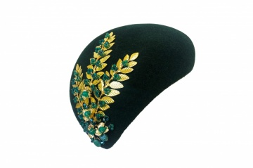 forest green and gold crystal army hat