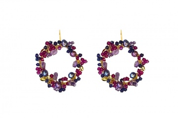 Magenta Crystal gold and pearl earrings