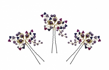 Magenta crystal gold lead hairpins