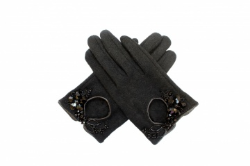 black crystal bead embellished winter wool gloves