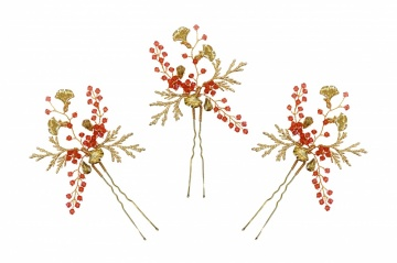 coral crystal gold toned hairpins ocassion